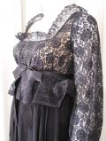1970's Black lace and georgette Regency style vintage evening gown JEAN VARON